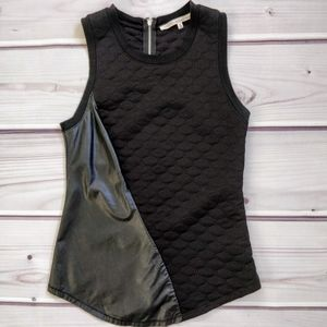 Rachel Rachel Roy Faux Leather and Fabric Tank